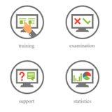 Icone di prova e di addestramento online Illustrazione di Stock