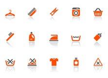 Icone di pulitura e di lavaggio Fotografia Stock
