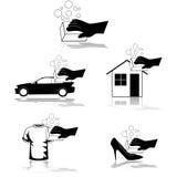 Icone di pulizia illustrazione di stock