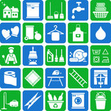 Icone di pulizia della Camera Immagini Stock Libere da Diritti