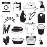 Icone di pulizia e della lavanderia Fotografia Stock