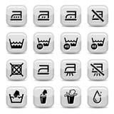 Icone di pulizia e di lavaggio Fotografie Stock