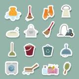 icone di pulizia impostate Fotografie Stock Libere da Diritti