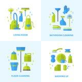 icone di pulizia impostate Fotografia Stock