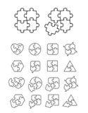 Icone di puzzle messe - completo ed incompleto Fotografie Stock