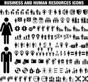 Icone di Reosurces dell'essere umano e di affari illustrazione vettoriale