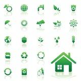 Icone di riciclaggio ambientali Fotografie Stock