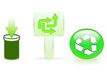 Icone di riciclaggio verdi Fotografia Stock