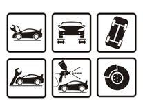 Icone di riparazione dell'automobile Fotografie Stock
