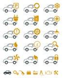 Icone di riparazione e di servizio dell'automobile illustrazione vettoriale