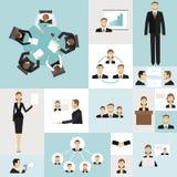 icone di riunione d'affari Immagini Stock Libere da Diritti
