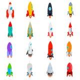 Icone di Rocket messe nello stile isometrico 3d Immagini Stock