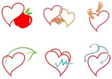 Icone di salute del cuore Fotografia Stock Libera da Diritti