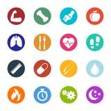 Icone di salute e di forma fisica di vettore all'interno della raccolta dei cerchi illustrazione vettoriale