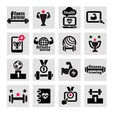Icone di salute e di forma fisica messe Fotografie Stock Libere da Diritti
