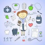Icone di salute, ilustration di scarabocchio, medico della donna Immagine Stock Libera da Diritti