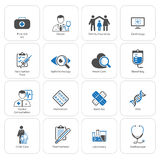 Icone di sanità e mediche messe Progettazione piana immagine stock libera da diritti