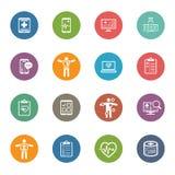 Icone di sanità & mediche messe Progettazione piana Fotografie Stock Libere da Diritti