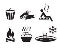 Icone di sauna messe fotografia stock libera da diritti