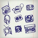 Icone di scarabocchio Fotografie Stock