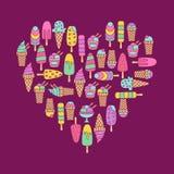Icone di scarabocchio del gelato messe Fotografia Stock Libera da Diritti