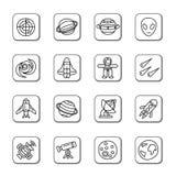 Icone di scarabocchio dell'elemento dello spazio Fotografie Stock