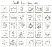 Icone di scarabocchio. Insieme dell'alimento Immagini Stock Libere da Diritti
