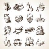 Icone di schizzo della stazione termale Fotografia Stock