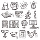 Icone di schizzo di istruzione scolastica Immagini Stock Libere da Diritti