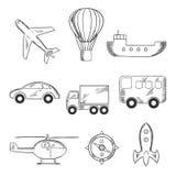 Icone di schizzo di trasporto e di viaggio Fotografia Stock Libera da Diritti