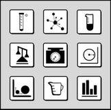 Icone di Scienza-Chimica-matematica Immagini Stock Libere da Diritti