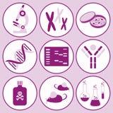 Icone di scienza di biologia Fotografia Stock