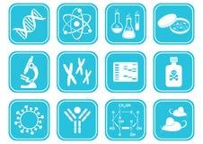 Icone di scienza di biologia Immagini Stock Libere da Diritti
