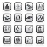Icone di scienza, di ricerca e di formazione Immagine Stock Libera da Diritti