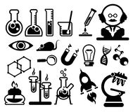 Icone di scienza messe Immagine Stock Libera da Diritti