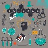 Icone di scienza messe, su fondo grigio Illustrazione di vettore Fotografie Stock Libere da Diritti