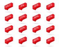 Icone di sconto delle percentuali Icone di sconto di vendita Elementi di progettazione dell'etichetta di sconto Icone della bolla illustrazione vettoriale