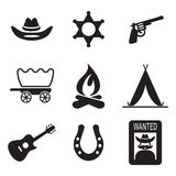 Icone di selvaggi West Immagine Stock Libera da Diritti
