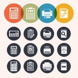 Icone di serie del cerchio della raccolta, calcolatore, blocco note, stampa, libro Immagini Stock Libere da Diritti