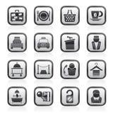 Icone di servizi del motel e dell'hotel Immagine Stock Libera da Diritti