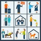 Icone di servizi sociali messe Fotografie Stock Libere da Diritti