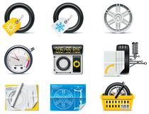 Icone di servizio dell'automobile. Gomme della parte 1. Fotografia Stock