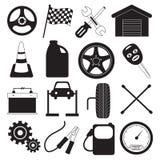 Icone di servizio e dello strumento dell'automobile Immagini Stock