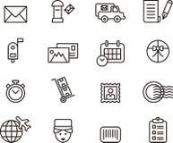 Icone di servizio postale Fotografia Stock