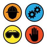 Icone di sicurezza della fabbrica Immagine Stock