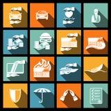 Icone di sicurezza di assicurazione messe Fotografia Stock