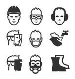 Icone di sicurezza di lavoro Immagine Stock