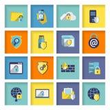 Icone di sicurezza di tecnologia dell'informazione messe Fotografia Stock Libera da Diritti