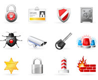 Icone di sicurezza e di obbligazione Fotografia Stock Libera da Diritti