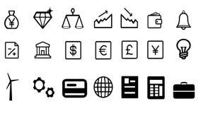 Icone di simboli di energia di affari di economia immagini stock libere da diritti